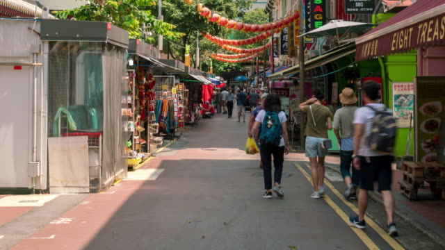 traffic of china town in singapore. - chinatown stock videos & royalty-free footage