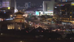 traffic of Dongdaemun gate in Seoul city at south Korea