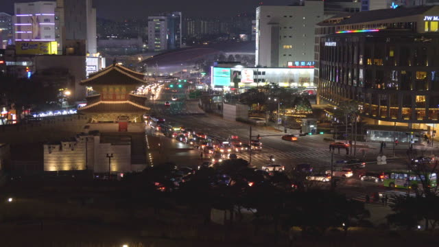 traffic of dongdaemun gate in seoul city at south korea - south korea stock videos and b-roll footage