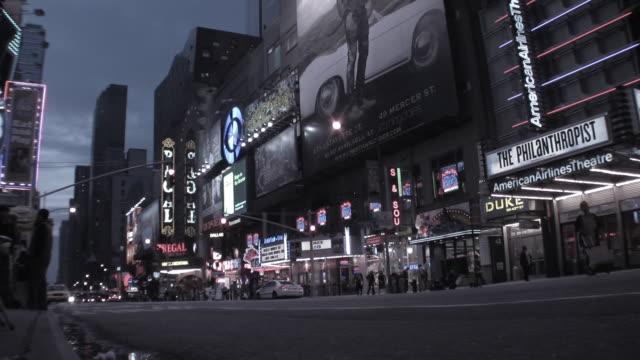 T/L MS Traffic on 42nd Street at dusk, New York City, New York, USA