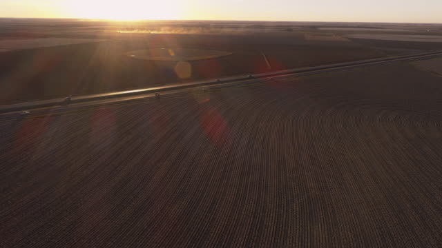 traffic on a highway between cotton fields ready for harvesting at sunset in autumn, texas, usa. agricultural machinery working in the fields in the backdrop, in clouds of dust. aerial video with the backward and panoramic camera motion. - trucks in a row stock videos & royalty-free footage