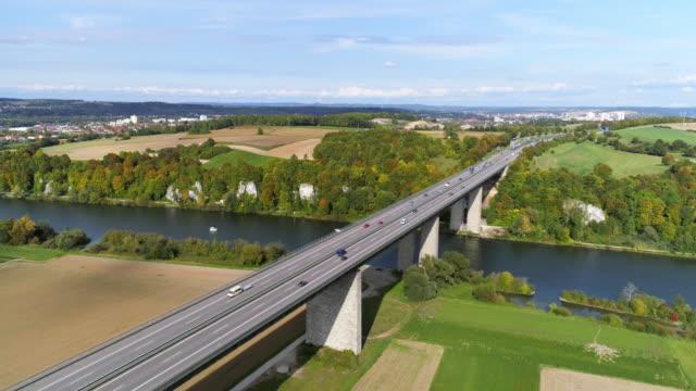 Traffic on Autobahn Bridge over the Danube River near Regensburg