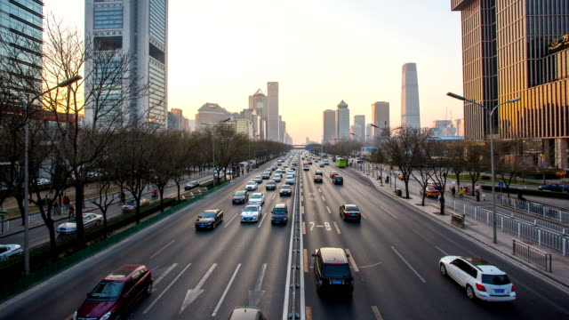 t/l of traffic on beijing road - orthographic symbol stock videos and b-roll footage
