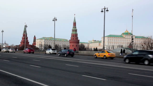 traffic on bolshoy kamenny bridge near moscow kremlin - 1938 stock videos & royalty-free footage