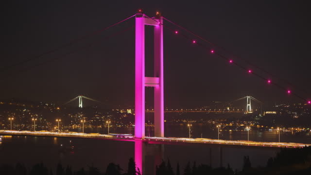 t/l ms ha traffic on bosphorus bridges at night, istanbul, turkey - july 15 martyrs' bridge stock videos & royalty-free footage