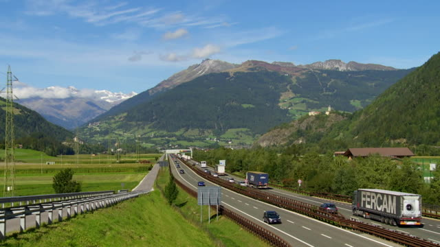 traffic on brennerautobahn in south tyrol - brennero stock videos and b-roll footage