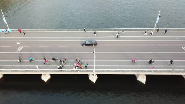 traffic on bridge in central stockholm seen from above - above stock videos & royalty-free footage