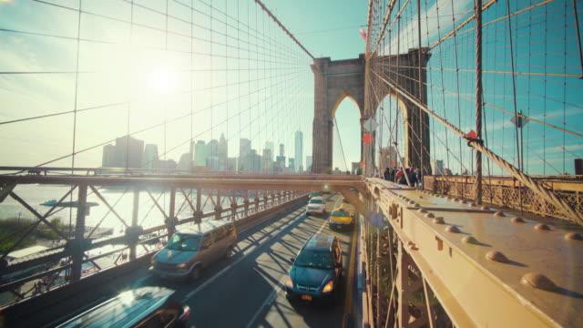 traffic on brooklyn bridge, new york, usa - brooklyn bridge stock-videos und b-roll-filmmaterial