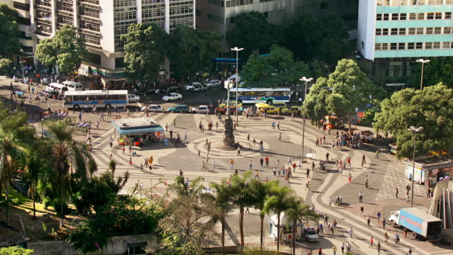 t/l, ws, ha, traffic on carioca square, rio de janeiro, brazil - fan palm tree stock videos & royalty-free footage