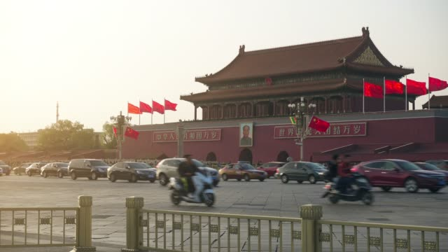 traffic on changan street nearby tian'anmen square ,beijing,china. - beijing stock videos & royalty-free footage