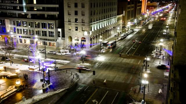 WS T/L Traffic on city road at night/ Salt Lake City, Utah, USA
