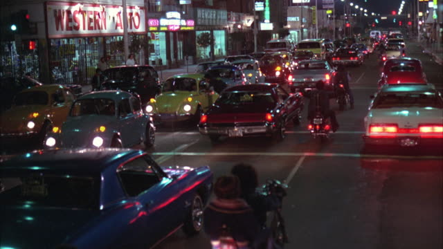 ws pov traffic on city street / los angeles, california, usa - 1978 stock videos and b-roll footage