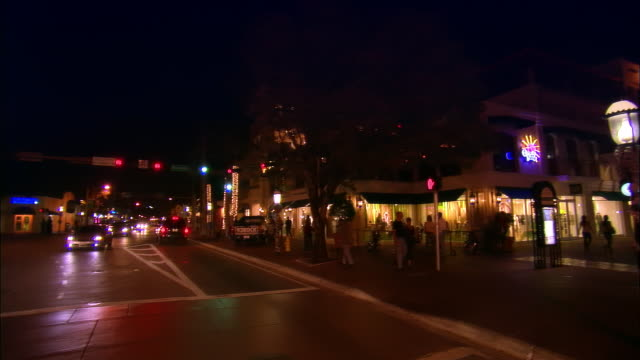 ws, pan, traffic on coconut grove at night, miami, florida, usa - grove stock videos & royalty-free footage
