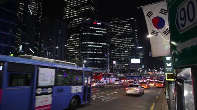 WS Traffic on downtown street at night / Seoul, South Korea