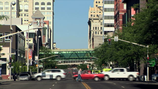 WS Traffic on downtown street, Spokane, Washington, USA