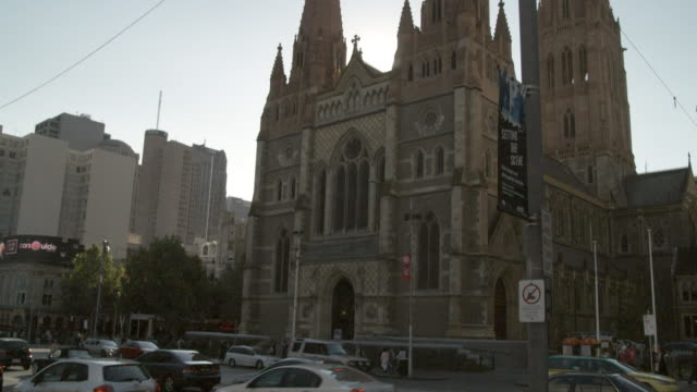 MS TU Traffic on front of St. Paul's Cathedral, Federation Square, Melbourne, Victoria, Australia