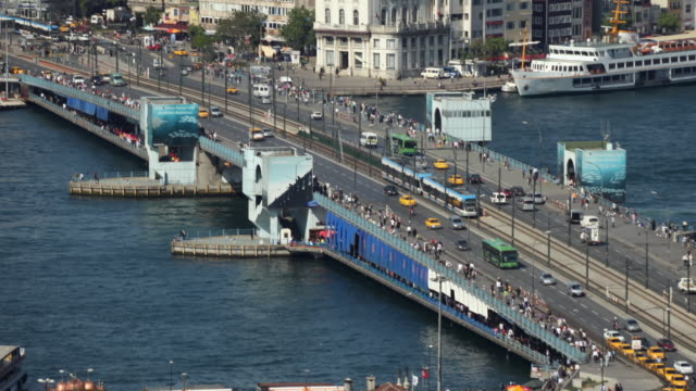 t/l ws ha zo traffic on galata bridge, istanbul, turkey - istanbul stock videos & royalty-free footage