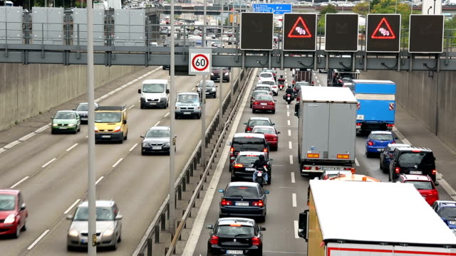traffic on german highway - traffic jam stock videos and b-roll footage