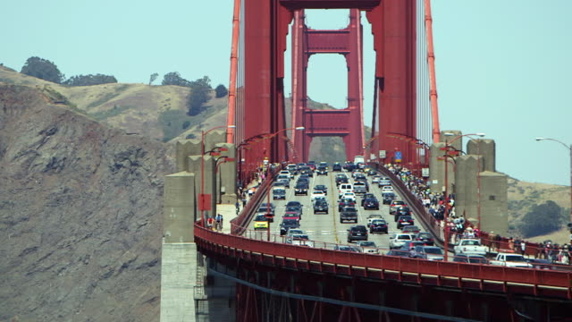traffic on golden gate bridge - golden gate bridge stock videos & royalty-free footage