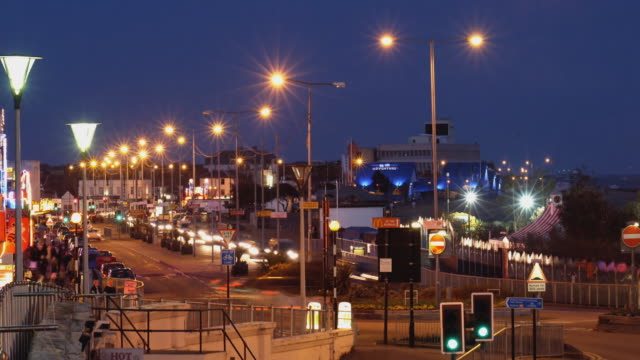 T/L, MS, Traffic on Golden Mile at dusk, Southend-on-Sea, Essex, England