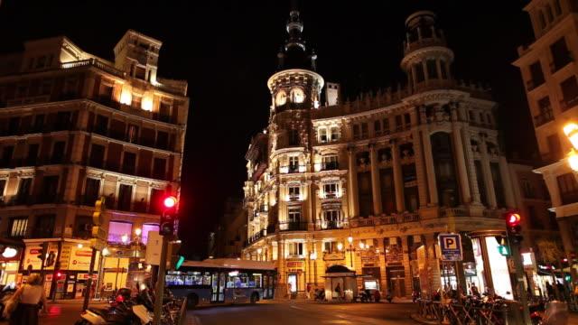 WS Traffic on Gran Via at night / Madrid, Spain