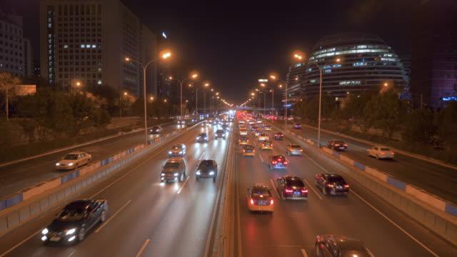 WS Traffic on highway at night, Chaoyang Road, Beijing, China