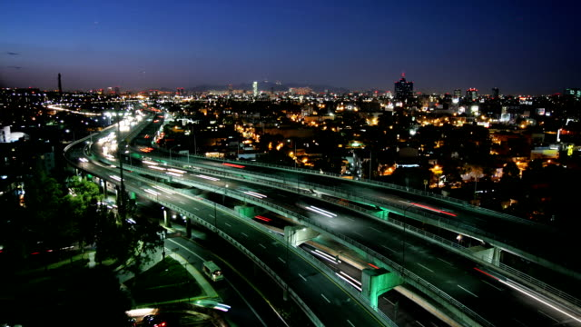 T/L, WS, HA, Traffic on highway at night, Mexico City, Mexico