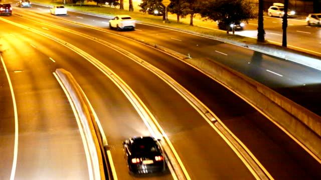 Traffic on highway at night Sydney Australia