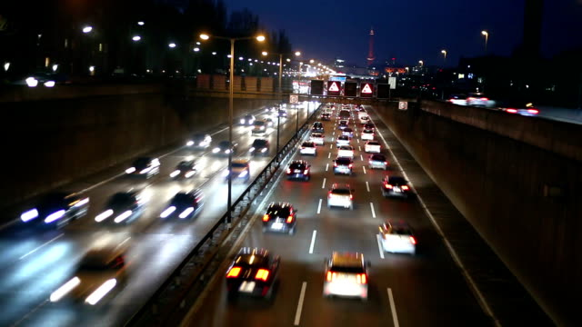 Traffic On Highway at night, Time Lapse