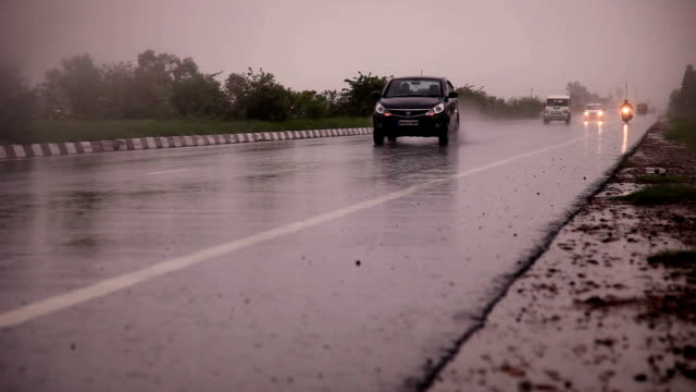 Traffic on Highway during rainy season