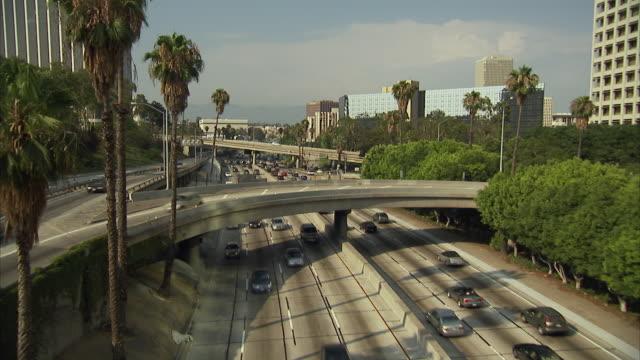 ws, ha, focusing, traffic on highway, los angeles, california, usa - fan palm tree stock videos & royalty-free footage