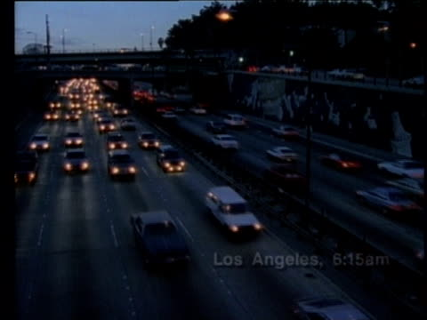 1990 montage traffic on highway, view of smoggy air above los angeles, california, usa, audio - 1990 stock videos & royalty-free footage