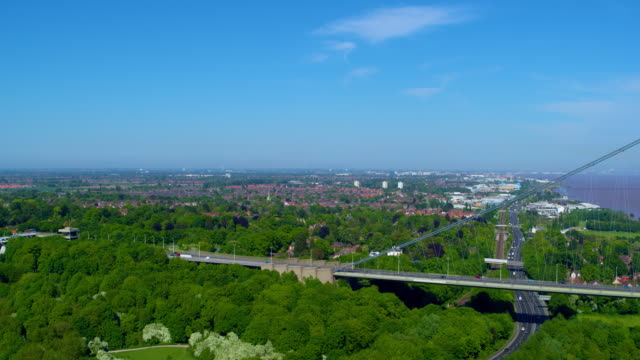traffic on humber bridge, hessle, east riding of yorkshire, england - hull stock videos & royalty-free footage