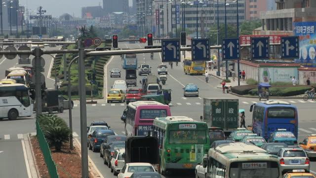 ws ha traffic on intersection / wenzhou, zhejiang, china - zhejiang province stock videos & royalty-free footage