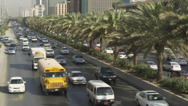 traffic on king abdullah road in central riyadh, saudi arabia. - day stock videos & royalty-free footage