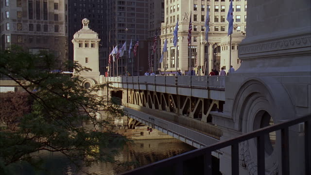 ms, traffic on michigan avenue bridge, chicago, illinois, usa - michigan avenue bridge stock videos and b-roll footage