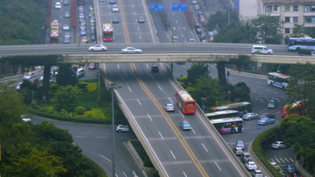 traffic on multi level city highway intersection in guangzhou. medium  shot from above - spoonfilm stock-videos und b-roll-filmmaterial