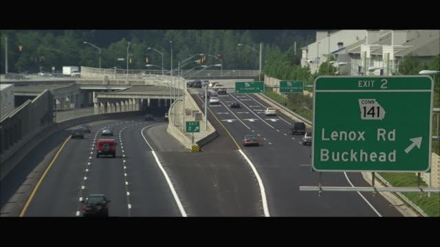 WS HA Traffic on multiple lane freeway / Atlanta, Georgia, USA
