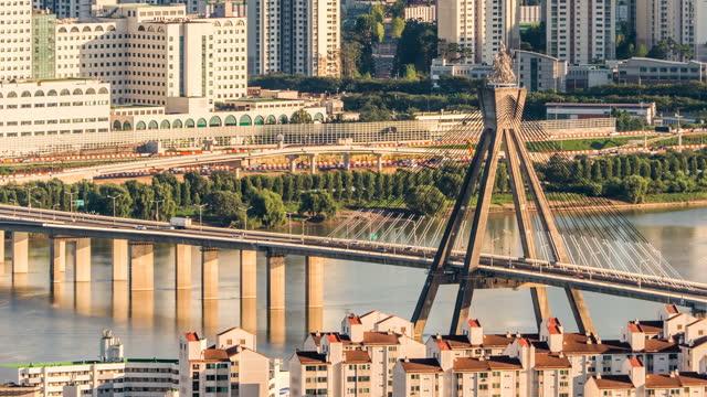 traffic on olympicdaegyo bridge above han river / seoul, south korea - cable stayed bridge stock videos & royalty-free footage
