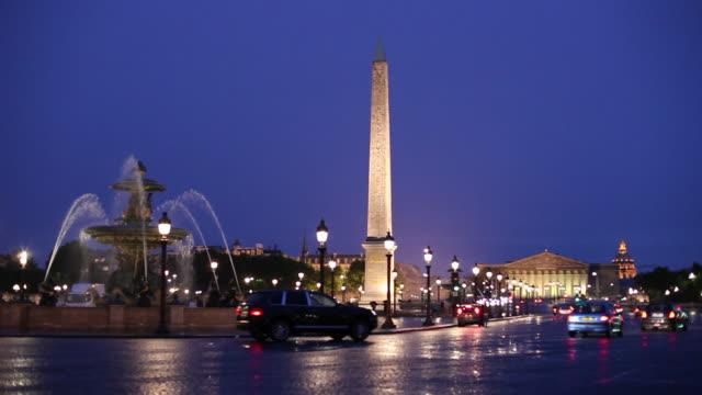 WS Traffic on Place de la Concorde at dusk / Paris, France