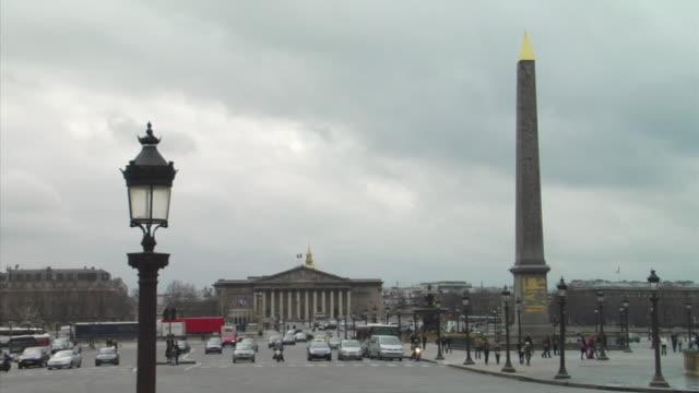 T/L WS Traffic on Place de la Concorde, Eiffel tower in distance, Paris, France