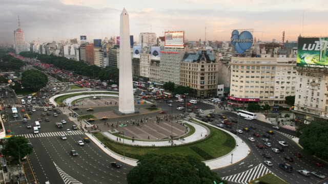 t/l, ws, ha, traffic on plaza de la republica  with obelisk, buenos aires, argentina - avenida 9 de julio stock videos & royalty-free footage