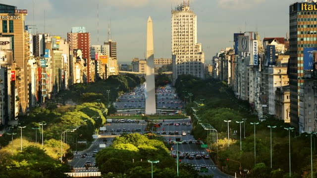 T/L, WS, HA, Traffic on Plaza de la Republica  with obelisk, Buenos Aires, Argentina