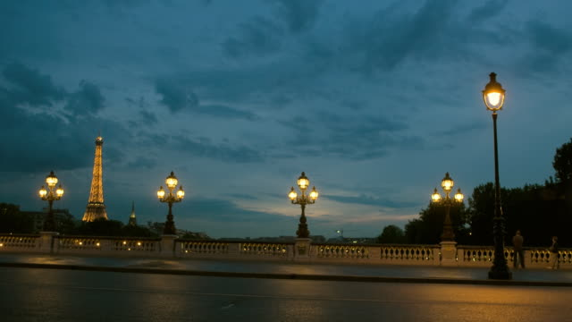 t/l, ws, traffic on pont alexandre iii with eiffel tower in background, day to dusk, paris, france - unknown gender stock videos and b-roll footage