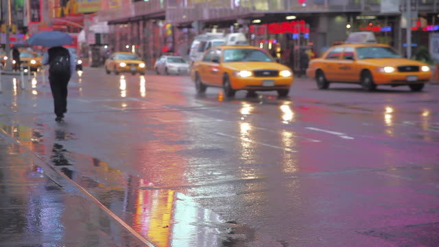 Traffic on Rainy New York Times Square