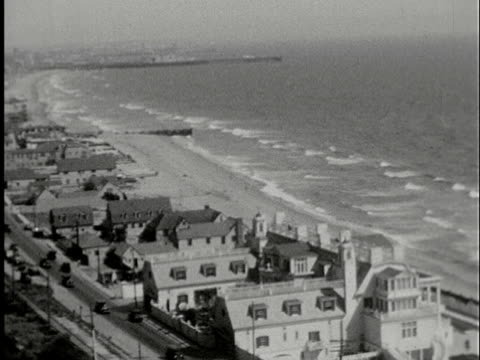 aerial, b/w, traffic on road along waterfront houses, los angeles, california, usa - 1920 stock videos & royalty-free footage