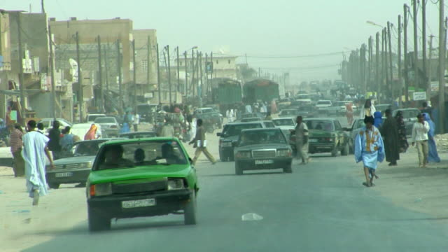 pov, traffic on road, nouadhibou, mauritania - mauritania stock videos & royalty-free footage