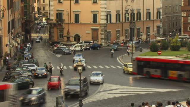 FAST MOTION, WS, HA, Traffic on roundabout, Rome, Italy