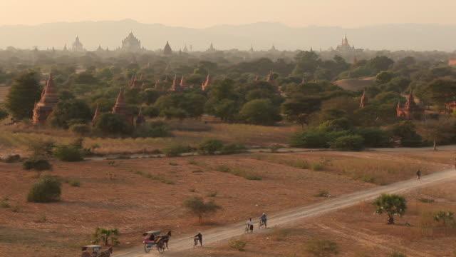 ws ha traffic on rural road in front of temple / bagan, myanmar - 働く動物点の映像素材/bロール