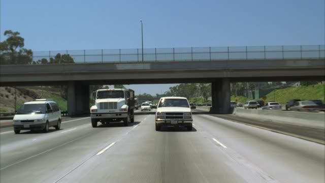ws pov traffic on santa monica freeway / los angeles, california, usa - warner bros stock videos and b-roll footage